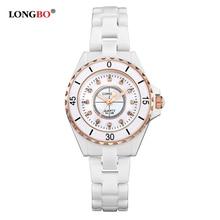 Dames Horloges LONGBO Marca de Lujo de Las Mujeres De Cerámica Reloj de 2016 Nuevas Señoras de Moda Casual Reloj de Pulsera 30 M Impermeable Montre Femme