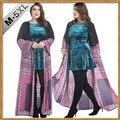 Cm4 summer dress 2017 indonesia musulmana ropa costuras sueltas de manga larga de dos piezas cortas vestidos musulmanes abaya con túnica