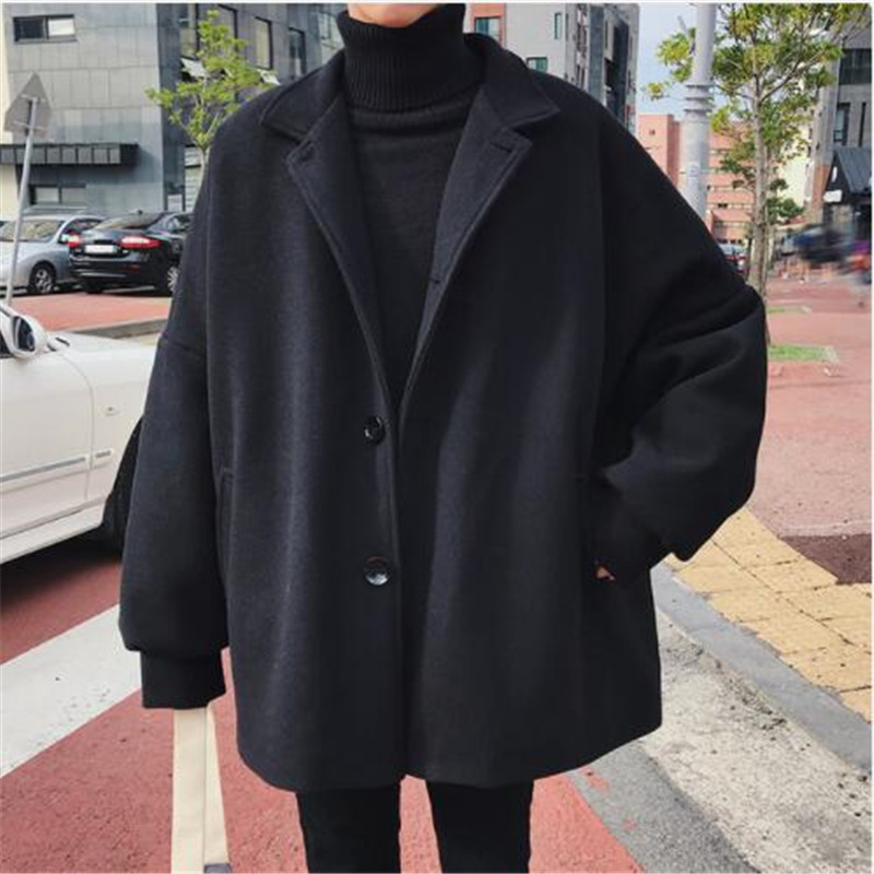 Long-Coats Cotton-Padded-Clothes Blends Trench Cashmere Woolen Men's Winter Casual Fashion