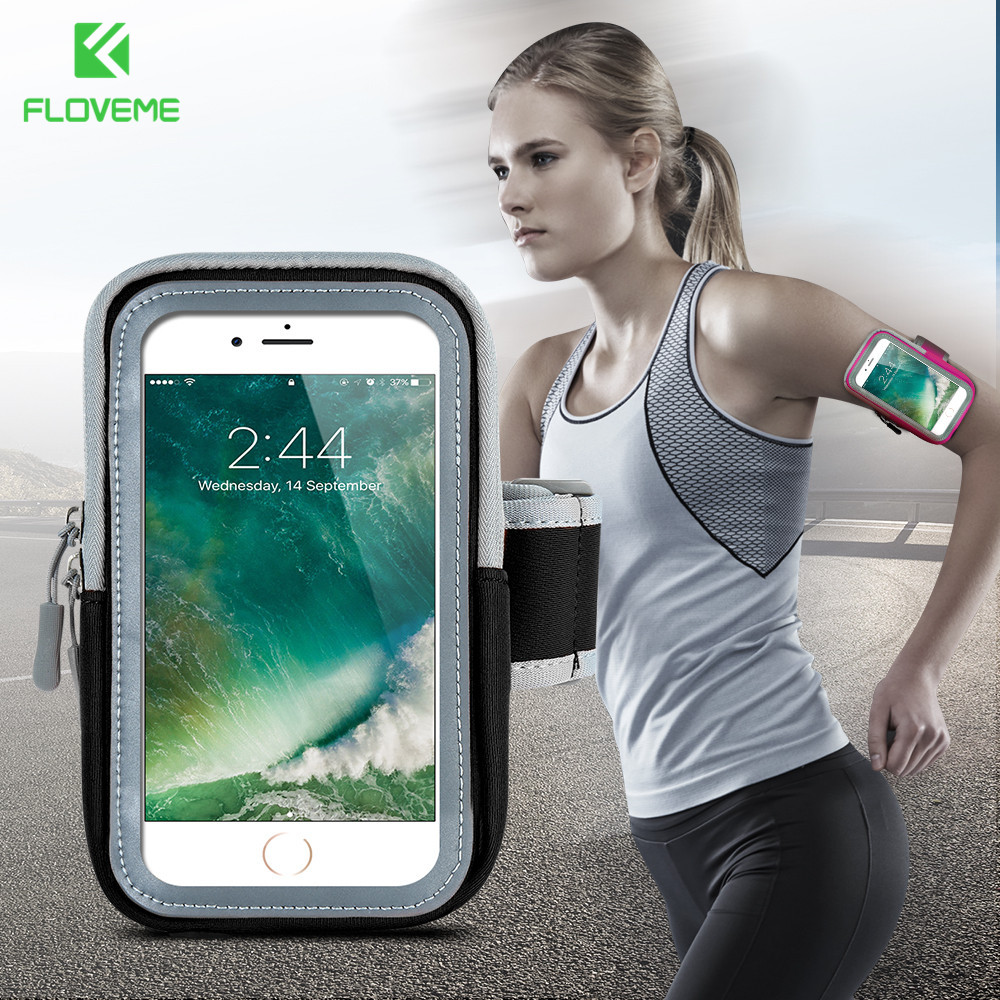 FLOVEME Sport Running Mobile Phone Armband 4.7-5.5 inch Fitness Cell Phone Armband Case Diving Cloth Smartphone Bag For iPhone 6
