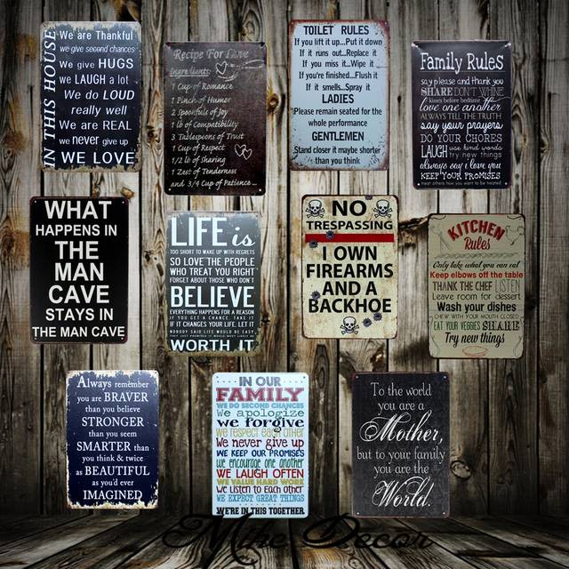 Us 4 79 49 Off Mike86 Poem Funny Family Life Kitchen Rule Quote Metal Painting Store Vintage Posters Wall Art Decor Fg 121 In Painting