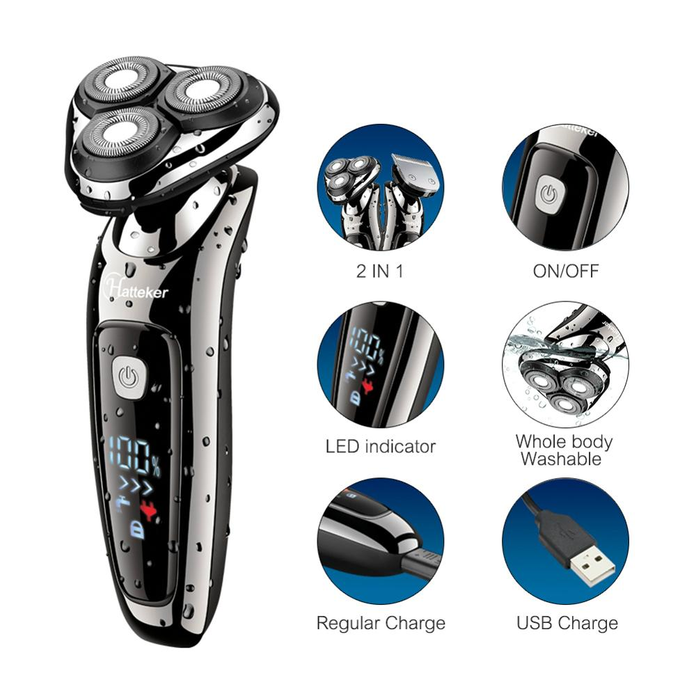Image 2 - HATTEKER electric shaver facial electric razor for men 2in1 grooming kit usb rechargeable male beard shaving machine 9598A-in Electric Shavers from Home Appliances