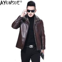 AYUNSUE 100% Genuine Leather Jacket Men Natural Wool Fur Coat Winter Sheepskin Coat Real Fur Thick Mens Leather Jackets KJ851