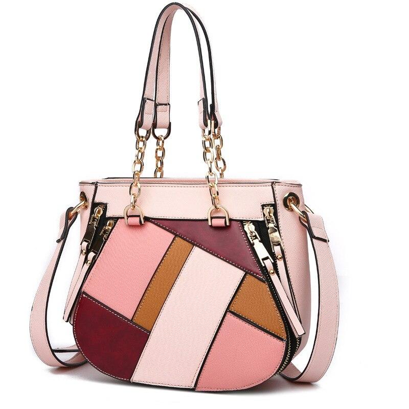 La nouvelle tendance de la mode en 2019 se heurte à la couleur des sacs pour femmes fournit des sacs pour dames avec un sac à bandoulière et des sacs obliques