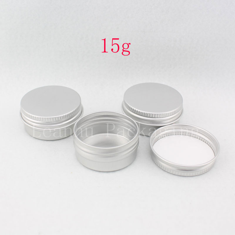 15g X 100 empty cosmetic cream aluminum jar with screw cover aluminum container bottle for cream