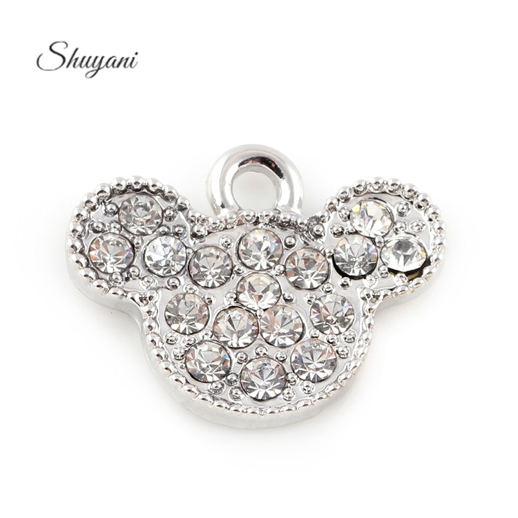15*19mm Crystal Silver Anime Minnie Mouse Charms Pendants Jewelry Making Diy European Charm Handmade Crafts