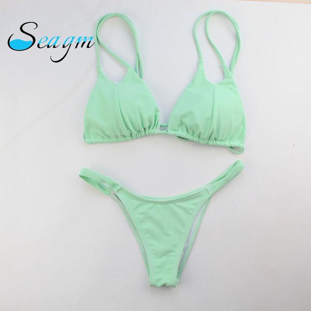 Solid Bikinis Swimwear Set