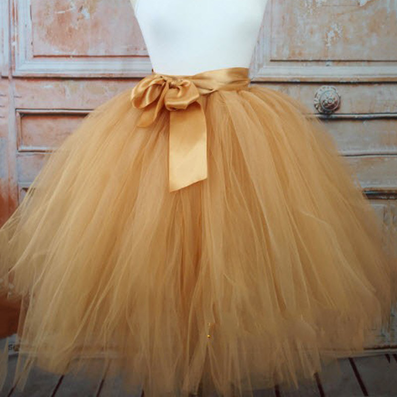 Gold Tutu Tulle Women's Skirts Ball Gowns With Sashes Tiered Ruffle Custom Made Puffy Knee-Length Cocktail Prom Skirt