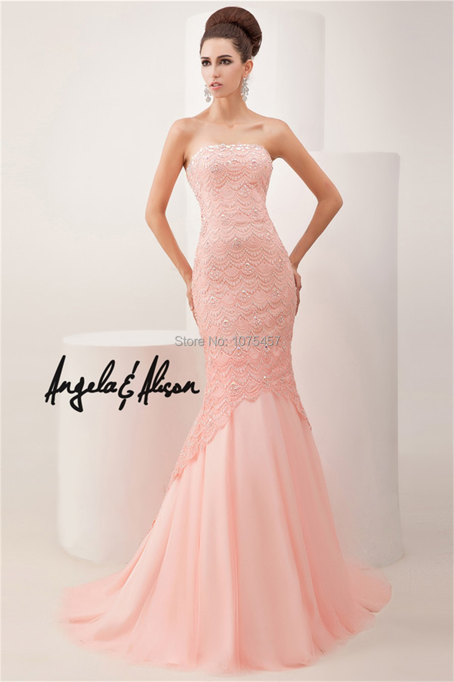 Free Shipping Mermaid Prom Dresses With Lace Crystals 2014