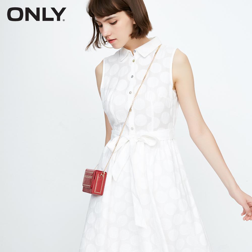 ONLY Summer 100% robe sans manches à lacets et à lacets en coton à col rabattu   118307509