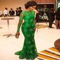 Новый Стиль Зеленый Mermaid Шнурка Вечерние Платья С Длинными Рукавами Вечернее Платье Вечернее Платье Для Женщин Пром Платья