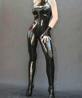 100% Latex Suit Rubber Catsuit Front zipper Gloves Black Bodysuit Party Size XXS~XXL