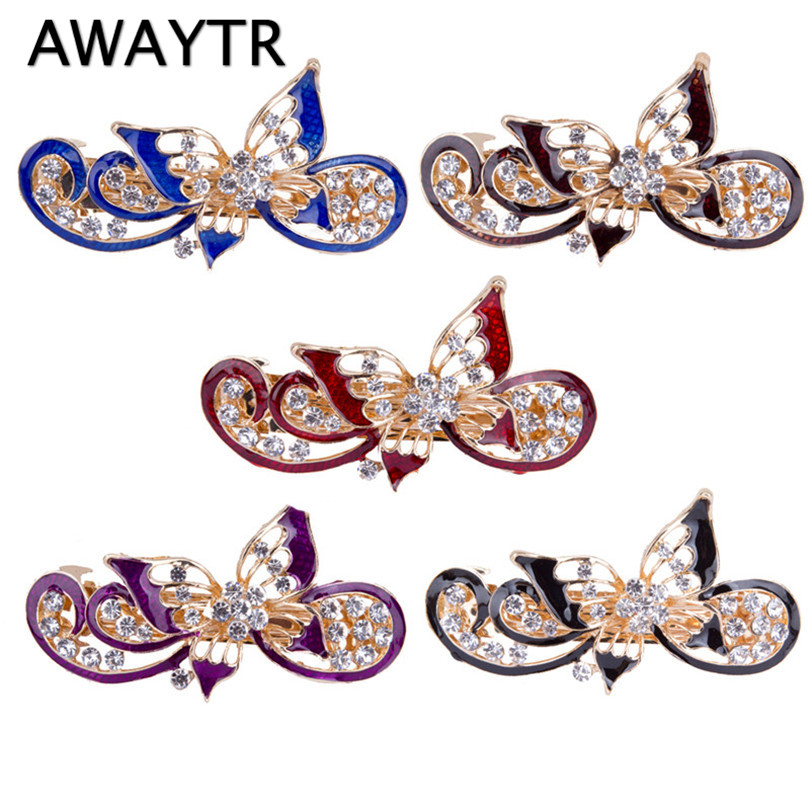 AWAYTR Butterfly Hair Clips for Women Elegant Crystal Hairpins Barrettes Fashion Hair Accessories   Headwear   Party Gifts