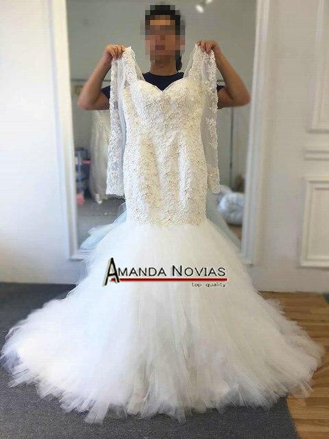 Новый дизайн красивое свадебное платье с бисером и юбкой годе с рукавами 2017