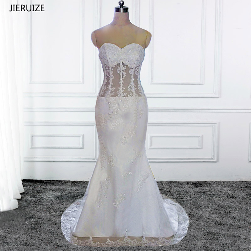 JIERUIZE Appliques di pizzo bianco vintage Appliques Abiti da sposa a sirena Sweetheart Sheer Beach Abiti da sposa robe de marriage