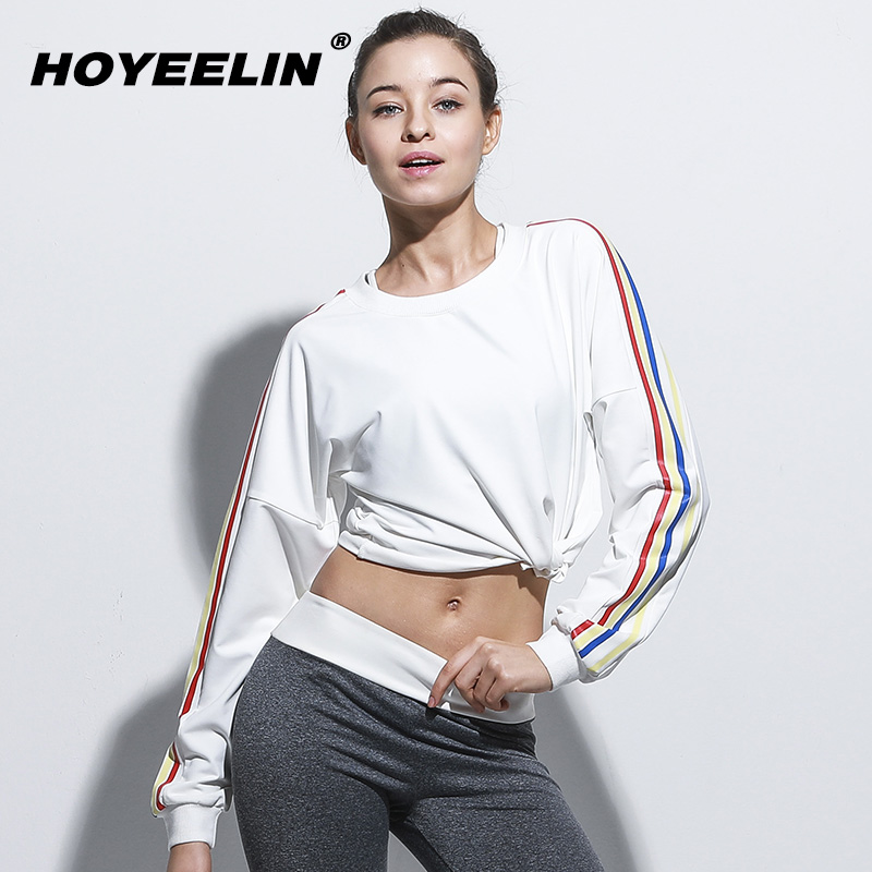 HoYeeLin Fitness Tops Womens Long Sleeve Loose Fitness Running Yoga T-shirts Quick Drying Crop Top Swearshirts Hoodies Women