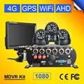 4G GPS WIFI 2 to HDD carte SD 4CH voiture Mobile Dvr enregistreur vidéo vue arrière + dôme intérieur voiture caméra Kits 7 pouces LCD voiture moniteur