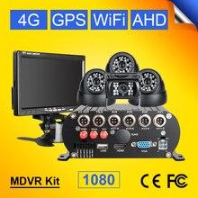 4G GPS WIFI 2TB tarjeta sd, hdd 4CH móvil coche grabador de vídeo dvr vista trasera + Domo interior Kits de cámara de coche 7 pulgadas LCD Monitor de coche