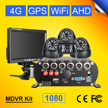 4G WIFI GPS 2TB ฮาร์ดดิสก์การ์ด SD 4CH โทรศัพท์มือถือ DVR บันทึกภาพด้านหลัง + โดมรถในร่มกล้องชุด 7 นิ้ว LCD Car Monitor
