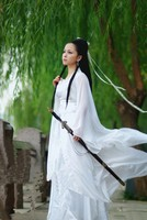 Classic white fairy costumes women's hanfu costume Han clothing Chiffon sand Sling drag contracting girdle