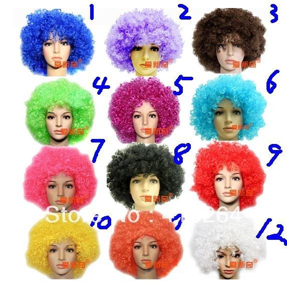 Parrucca perruque Belle trasporto libero 12 Bambini di colore Parrucche Afro Parrucca di Halloween Disco Clown Costume Party Ricci Fancy Unisex