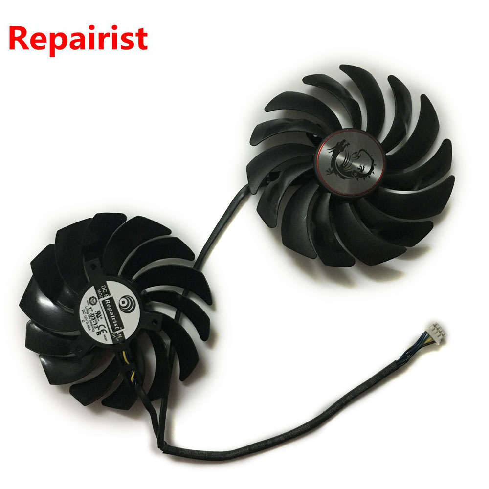 2pcs/lot computer radiator cooler Fans RX470 Video Card cooling fan For MSI RX570 RX 470 GAMING 8G GPU Graphics Card Cooling universal computer gpu video graphics card water cooling cooler copper radiator transparent with led hole spacing 53 61mm