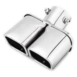 Samochód Auto srebrny ze stali nierdzewnej stalowe chromowane podwójne gniazdko rura wydechowa gardło Liner uniwersalny 63Mm wlot|Zespół spalin|Samochody i motocykle -