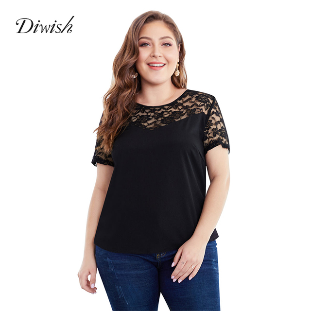 Diwish Women T Shirt Black Top 2019 Short Sleeve Lace Patchwork T Shirt Casual Plus Size Summer Tops for Women 2019 XL-4XL