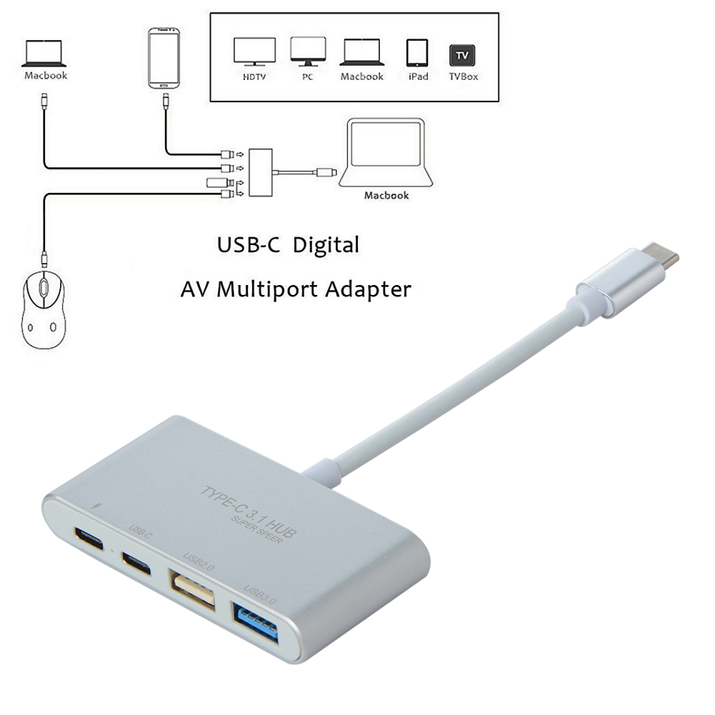 USB 3.1 Type-C to PD USB-C USB 2.0 3.0 4 Ports Splitter Hub Adapter USB Hubs for Mobile Phone PC Computer Accessories