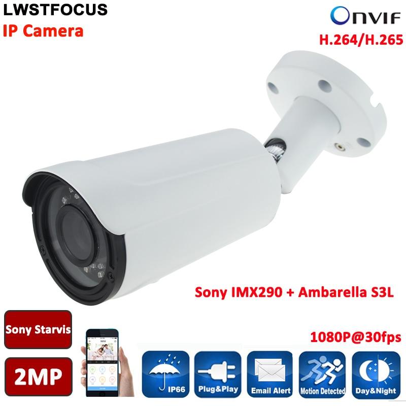 Sony IMX290+Ambarella S3L 1080P CCTV IP Camera 40M 2MP 2.8-12Manual Zoom lens Outdoor waterproof Bullet Cameras Onvif 2.4 P2P g loomis intl flsar 1143 s imx