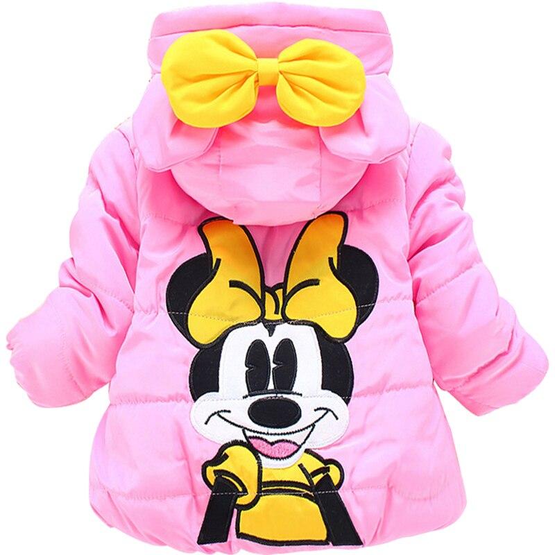 Infant Kids Girls Baby Toddler Winter Warm Minnie Hooded Cartoon Coat Jacket
