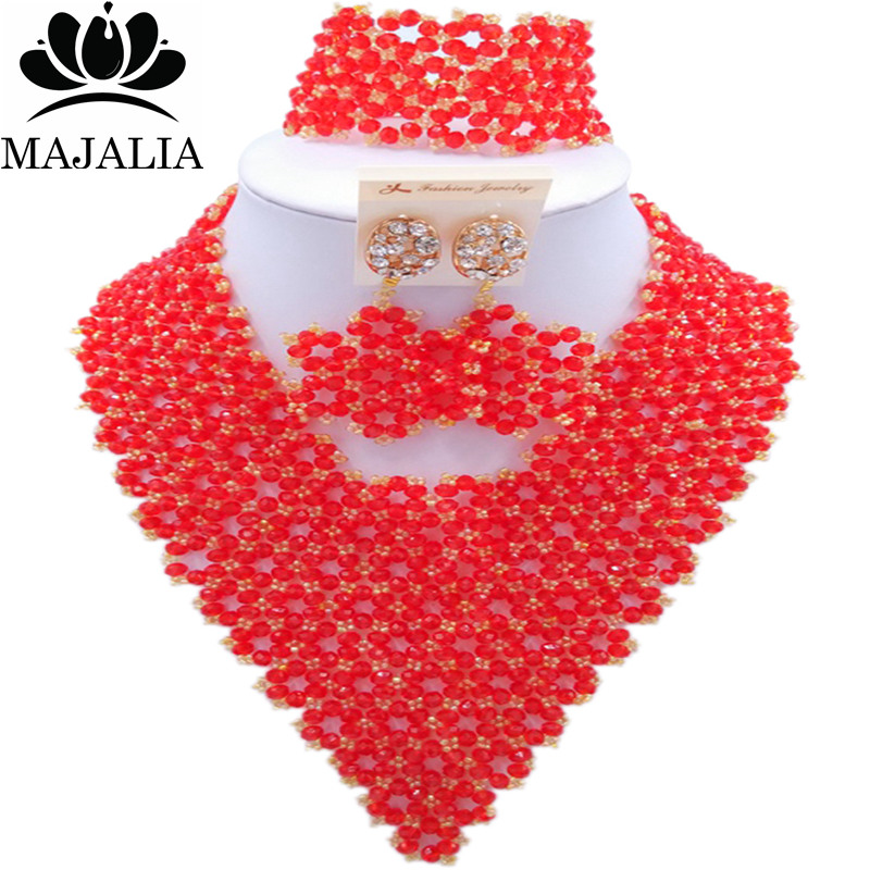 Majalia Fashion Nigeria African Wedding Jewelry Crystal Red and Gold ab Crystal Bead Necklace Bride Jewelry Sets 4JX011Majalia Fashion Nigeria African Wedding Jewelry Crystal Red and Gold ab Crystal Bead Necklace Bride Jewelry Sets 4JX011