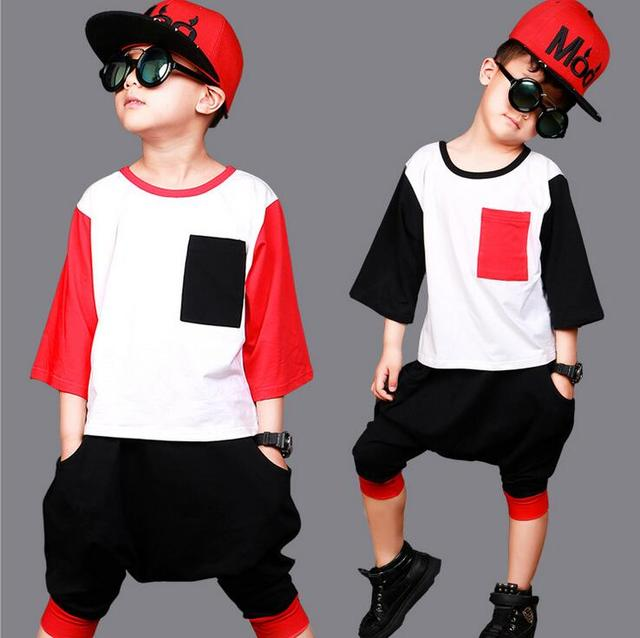 9f0f5be53 2018 New Children's clothing set Hip Hop harem Suit boys Black Red Pockets Performance  kids Fashion costume summer set for boys
