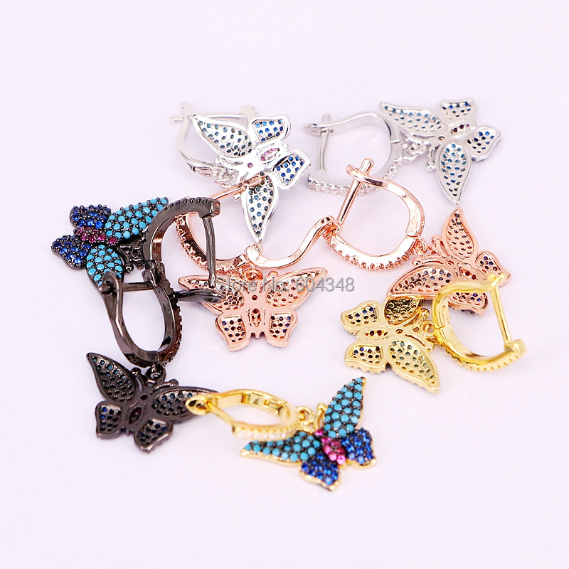 5 Pairs ZYZ186 8514 Fashion Micro pave CZ butterfly insect earrings, blue stones wings insect jewelry earrings gift for women-in Drop Earrings from Jewelry & Accessories    2