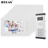 JERUAN Apartment Doorbell Intercom 10 White Monitor 7 Inch Video Door Phone Intercom System HD IR