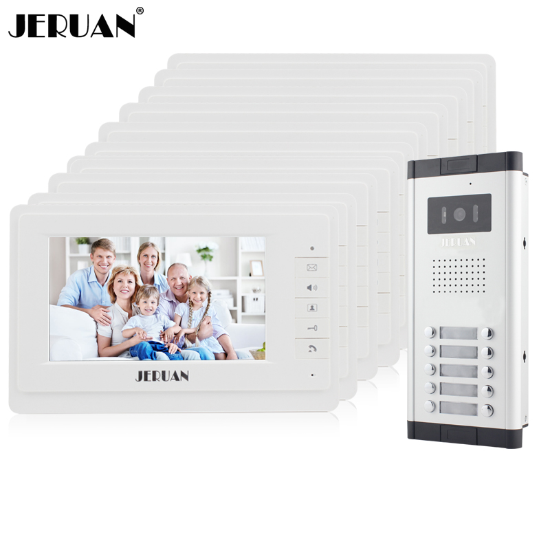JERUAN Apartment Doorbell intercom 10 white Monitor 7 inch Video door phone Intercom System HD IR COMS Camera for 10 Call Button футболка akomplice think different tee black s