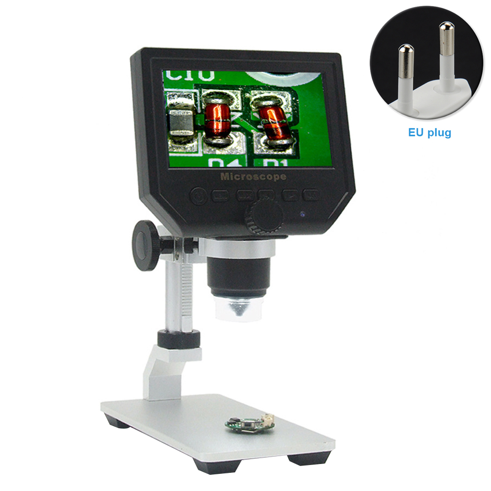 KK Moon G1200 Digital Microscope 7 Inch Large Color Screen Large Base LCD Display 12MP 1-1200X Continuous Amplification Magnifier with Aluminum Alloy Stand Digital Microscope