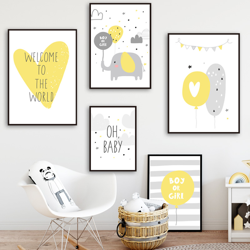 Baby Room Decoration Picture Heart Balloon Cloud Nordic Posters And Prints Wall Art Canvas Painting Pictures Kids