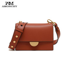 Fashion Semicircular Lock Women Shoulder Bags Wide Strap Leather Women Messenger Bags Luxury Brand High Quality Vintage Handbags