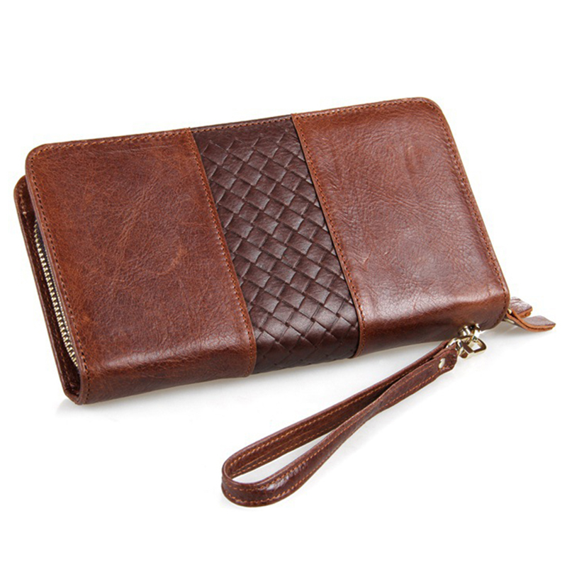 High Quality Double Zipper Men Clutch Bags Genuine Leather Wallet Man Brand Wallets Male Long Wallets Purses carteira masculina baellerry high quality men leather wallets vintage male wallet three hold purse for men short purses carteira masculina d9150