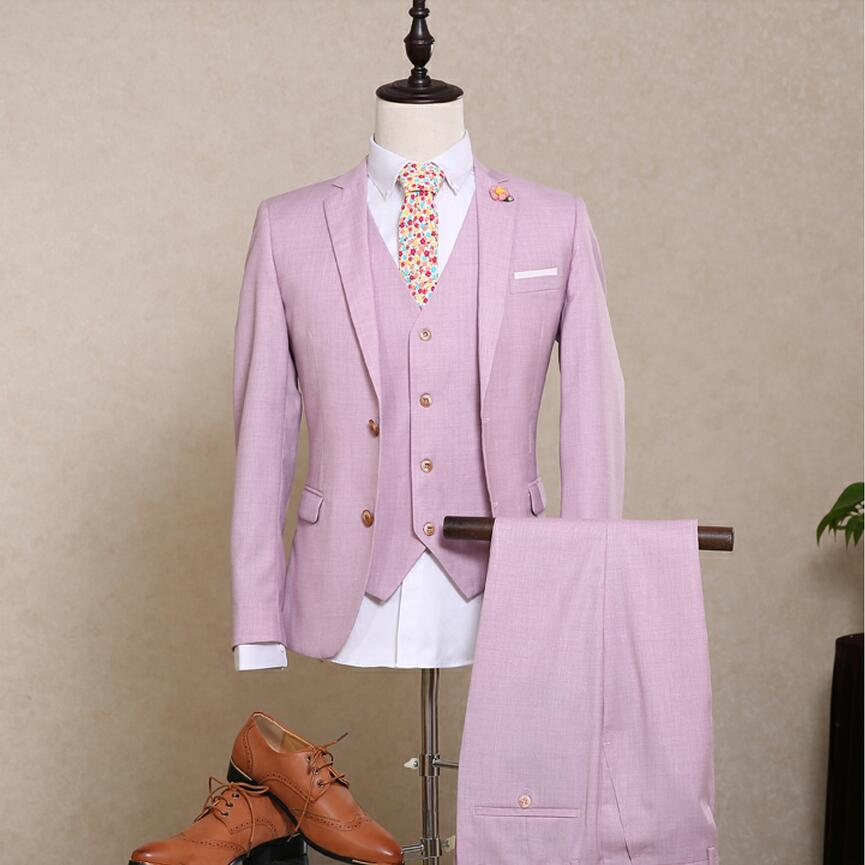 Hot Sale Mens Suit Blazer Groom Wedding Light Pink Tuxedo Flat ...