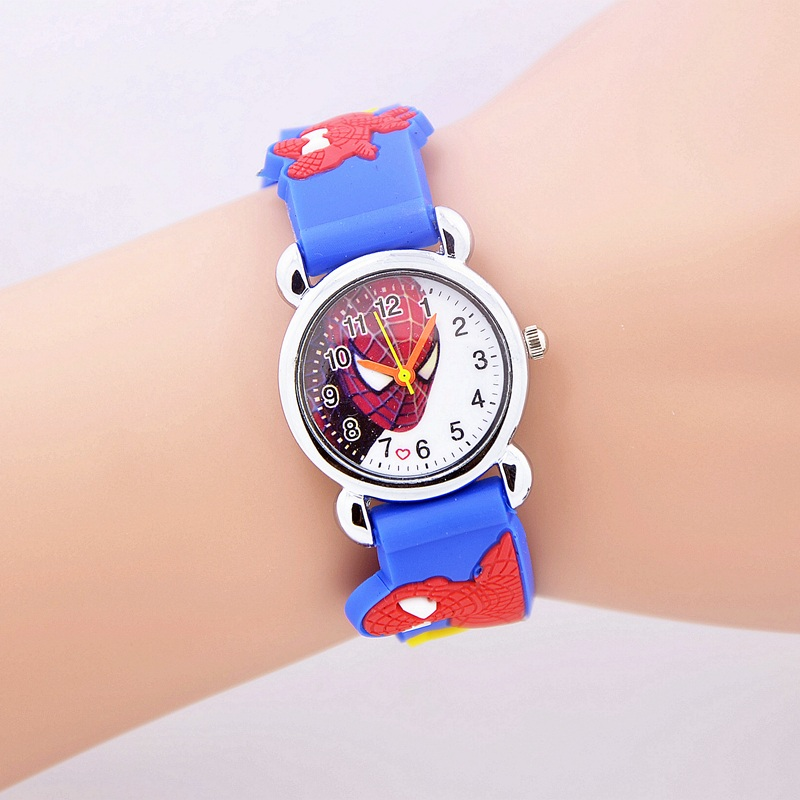 New 2018 fashion spider man girl 39 s boy quartz watch kids cute children 39 s cartoon watches jelly for Spiderman watches
