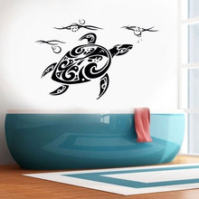 Ocean Sea Turtle Flower Vinyl Wall Sticker Home Decor Bathroom Decal Room Coastal Decoration Mural Removable Wallpaper 3327