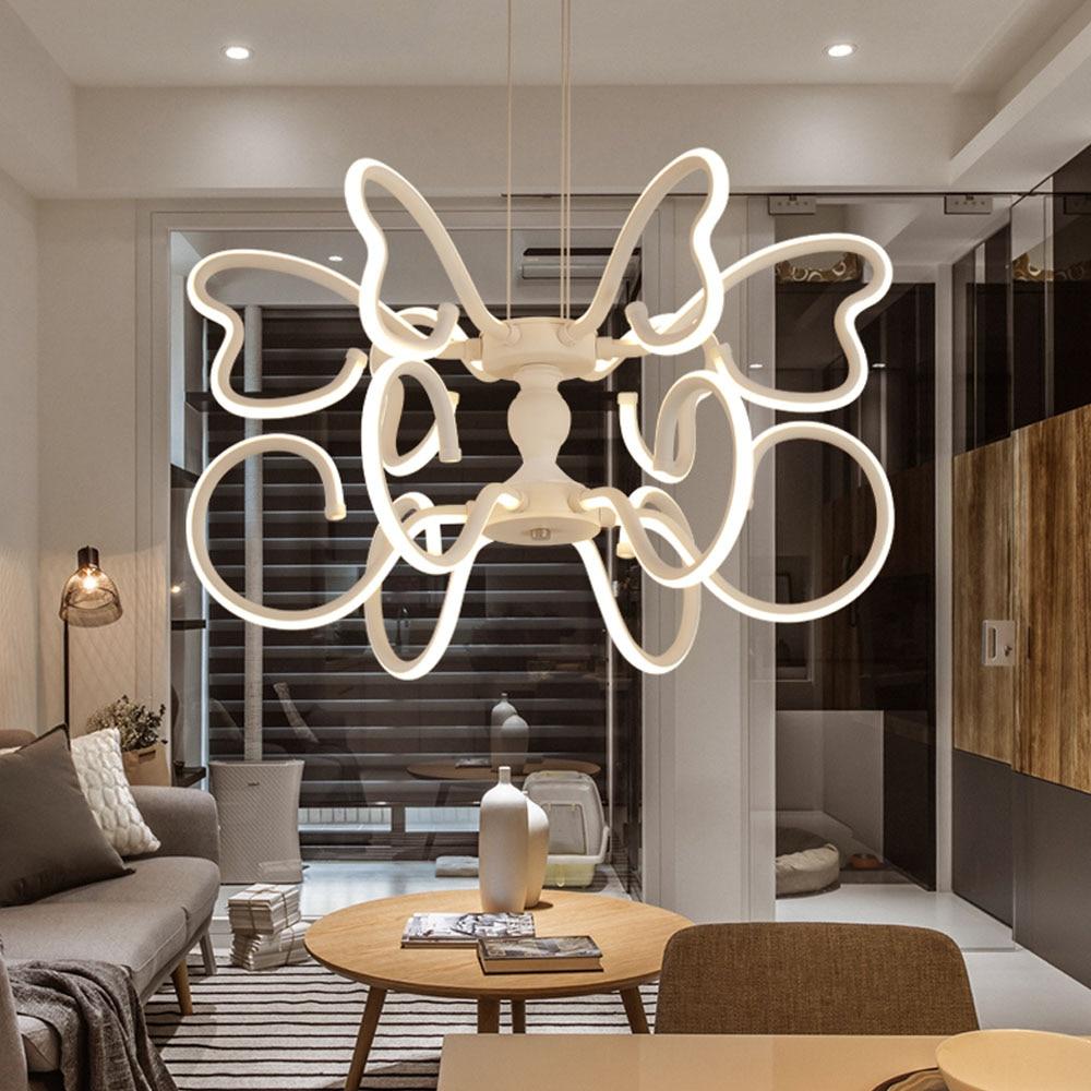 HGHomeart Butterfly Pendant Lights Led Kids Room Living Bedroom Light Suspendues Acrylic Deck Night Lamp