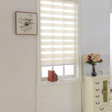 Horizontal Window Shade Blind Zebra Dual Roller Blinds Treatments Window Custom Cut to Size Beige Curtains