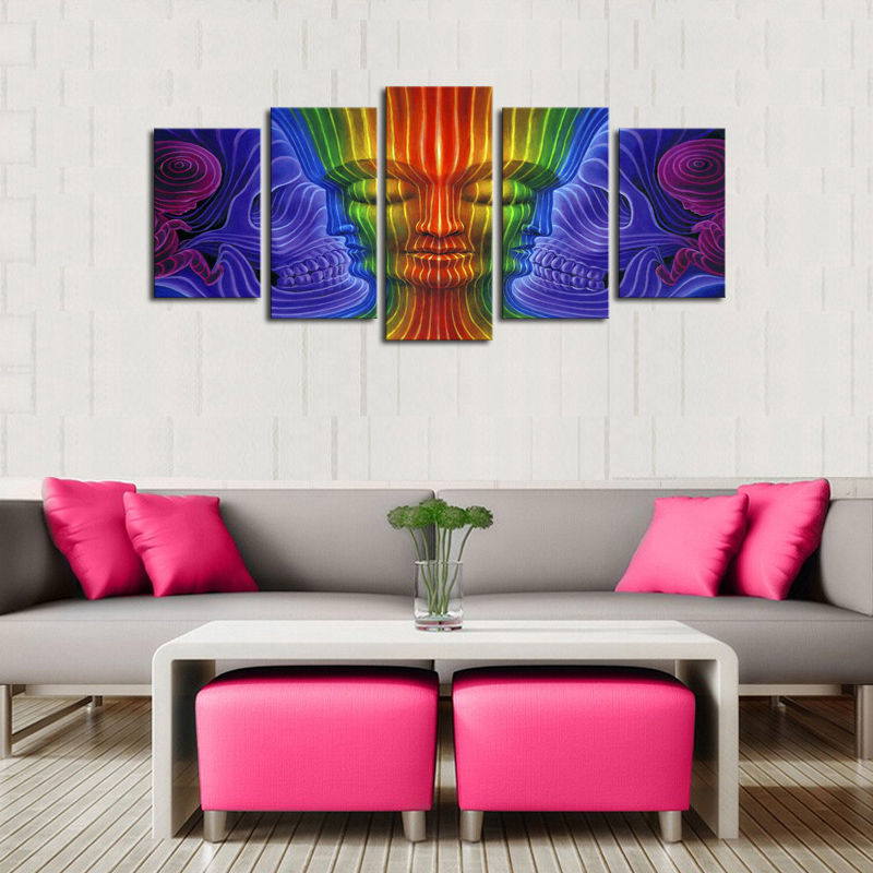 5 Panels (No Frame) Canvas Wall Art Colorful Buddha  Pictures Paint on Canvas Painting for Home Kitchen Decorative no frame canvas