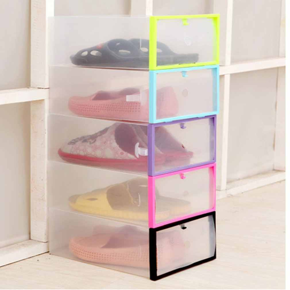 Shoe Rack Clear Plastic Stackable Transparent Shoe Box Shoes Storage Box Drawer Creative zapatero organizador de zapatos hot