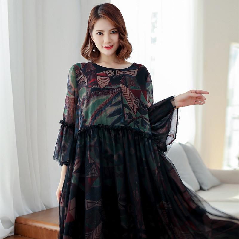 Dresses Original 2019 Fashion Spring Women Pullover Petal Sleeve Mesh Printing Split Joint Dress Big Size Round Neck Autumn Clothes R009