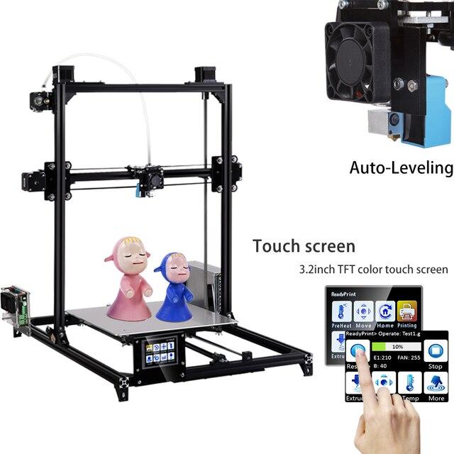 2019 flsun tamanho de impressão i3 impressora 3d, 300x300x420mm sistema de autonivelamento automático, extrusora dupla kit diy touchscreen de 3.2 polegadas