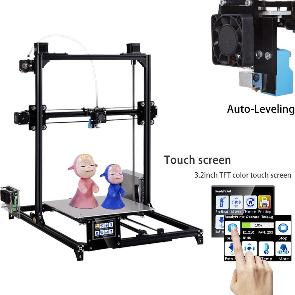 2019 Flsun grande taille d'impression I3 3D imprimante 300x300x420mm système de nivellement automatique double extrudeuse kit de bricolage 3.2 pouces écran tactile